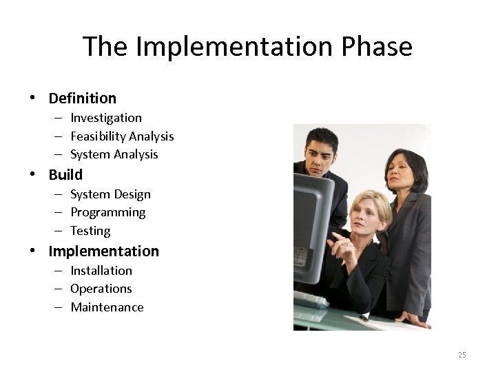 The Implementation Phase • Definition – Investigation – Feasibility Analysis – System Analysis •