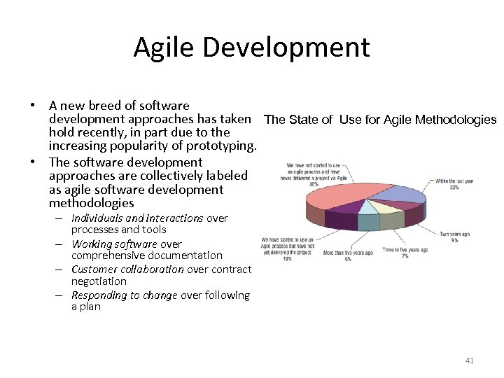Agile Development • A new breed of software development approaches has taken The State
