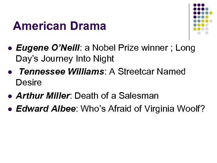 American Drama l l Eugene O'Neill: a Nobel Prize winner ; Long Day's Journey