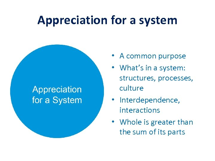 Appreciation for a system • A common purpose • What's in a system: structures,