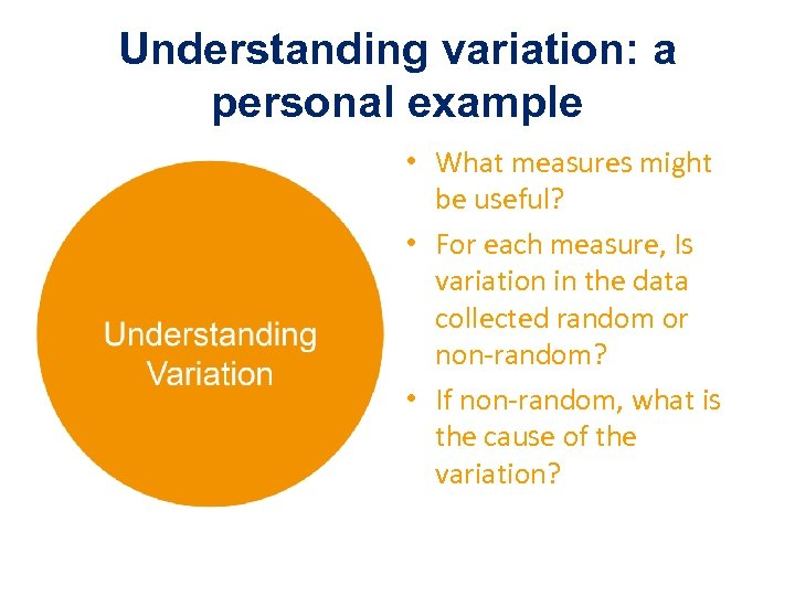 Understanding variation: a personal example • What measures might be useful? • For each