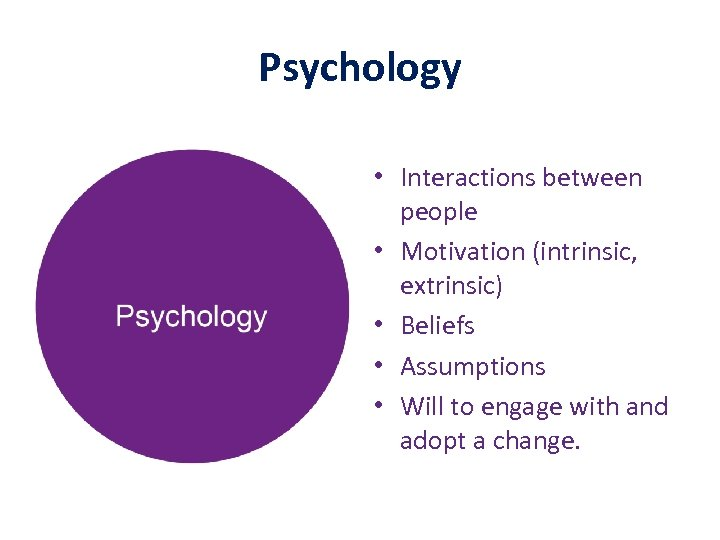 Psychology • Interactions between people • Motivation (intrinsic, extrinsic) • Beliefs • Assumptions •