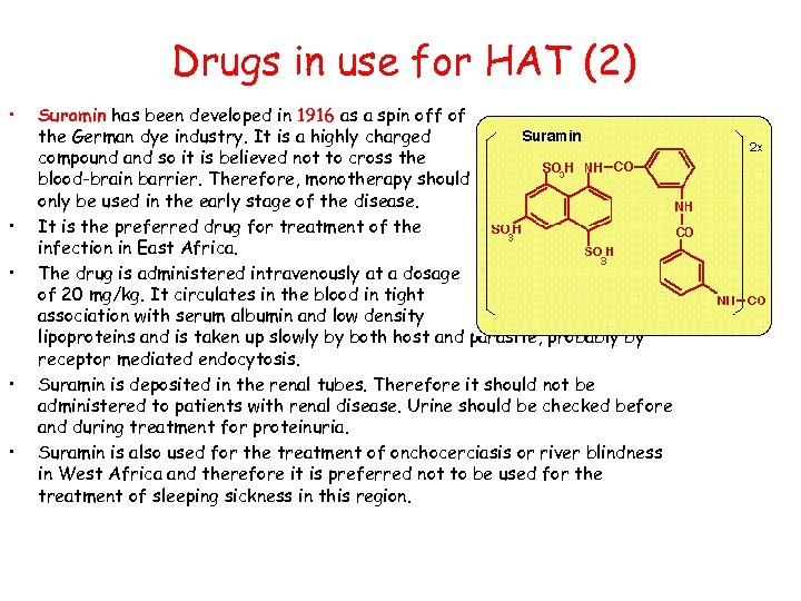Drugs in use for HAT (2) • • • Suramin has been developed in