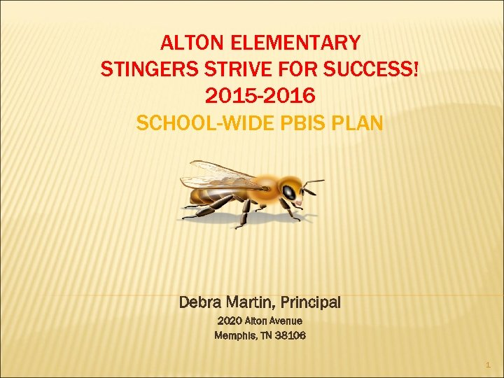 ALTON ELEMENTARY STINGERS STRIVE FOR SUCCESS! 2015 -2016 SCHOOL-WIDE PBIS PLAN Debra Martin, Principal