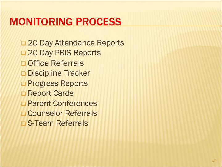 MONITORING PROCESS q 20 Day Attendance Reports q 20 Day PBIS Reports q Office