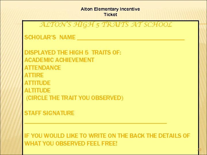 Alton Elementary Incentive Ticket ALTON'S HIGH 5 TRAITS AT SCHOOL SCHOLAR'S NAME _________________ DISPLAYED