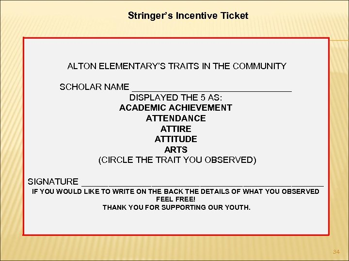 Stringer's Incentive Ticket ALTON ELEMENTARY'S TRAITS IN THE COMMUNITY SCHOLAR NAME _________________ DISPLAYED THE
