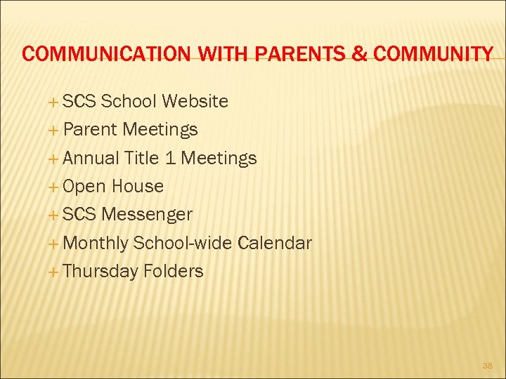 COMMUNICATION WITH PARENTS & COMMUNITY SCS School Website Parent Meetings Annual Title 1 Meetings