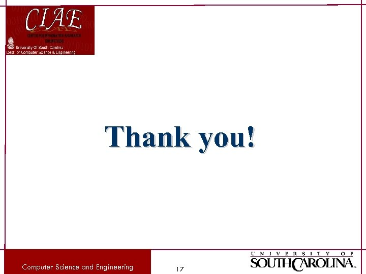 Thank you! Computer Science and Engineering 17