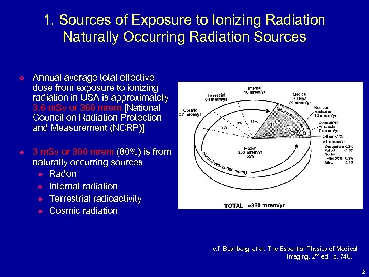 1. Sources of Exposure to Ionizing Radiation Naturally Occurring Radiation Sources v Annual average