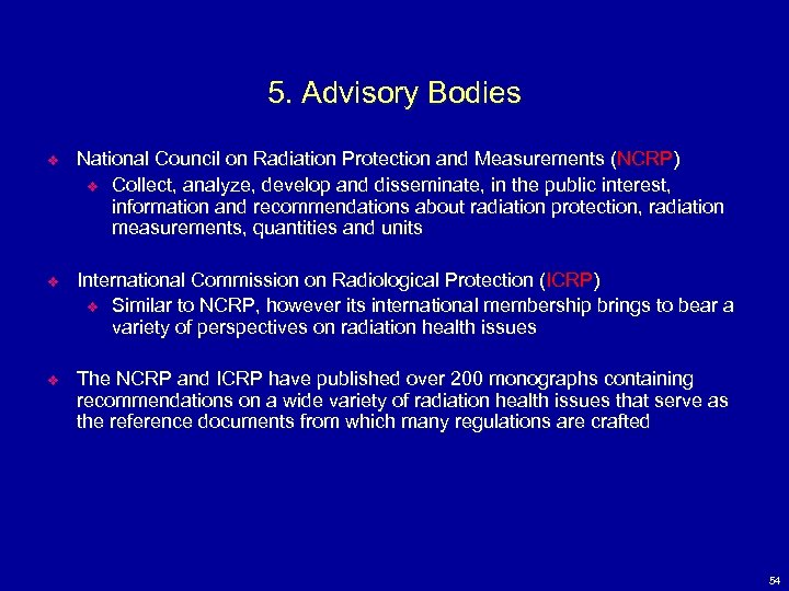 5. Advisory Bodies v National Council on Radiation Protection and Measurements (NCRP) v Collect,