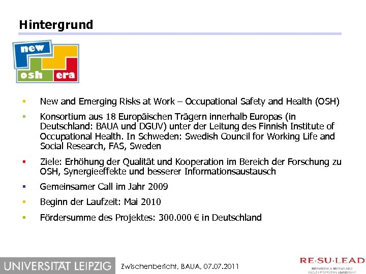 Hintergrund § New and Emerging Risks at Work – Occupational Safety and Health (OSH)