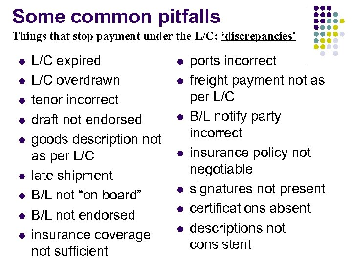 Some common pitfalls Things that stop payment under the L/C: 'discrepancies' l l l