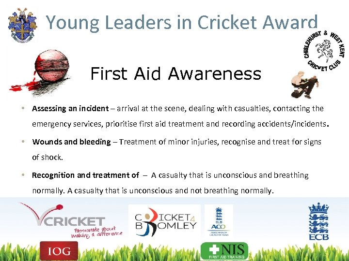 Young Leaders in Cricket Award First Aid Awareness • Assessing an incident – arrival