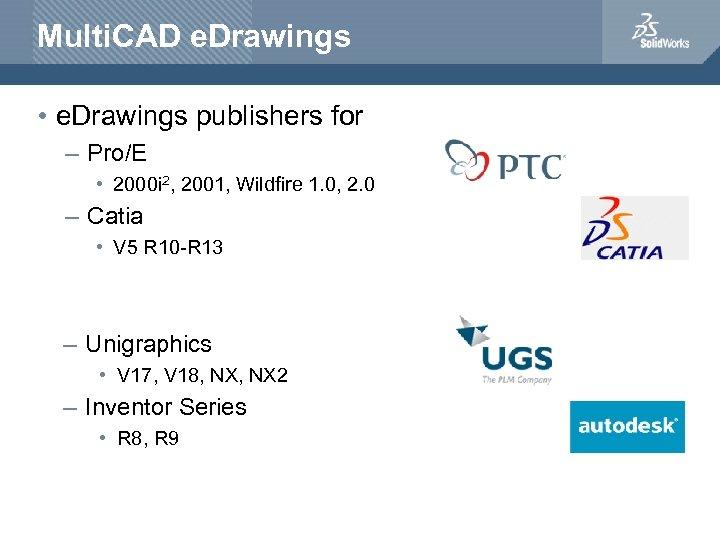 Multi. CAD e. Drawings • e. Drawings publishers for – Pro/E • 2000 i