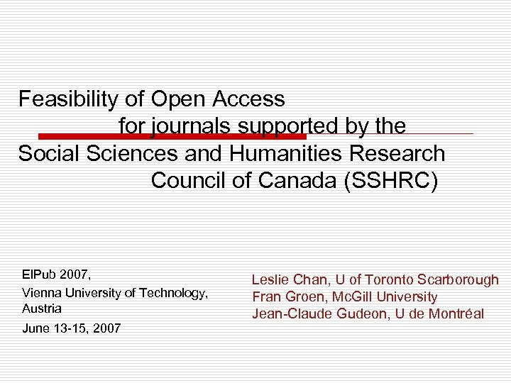 Feasibility of Open Access for journals supported by the Social Sciences and Humanities Research