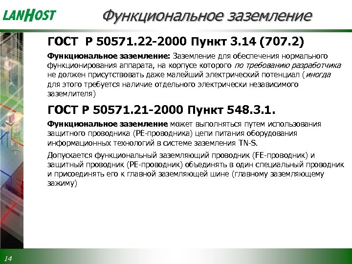 Функциональное заземление ГОСТ Р 50571. 22 -2000 Пункт 3. 14 (707. 2) Функциональное заземление: