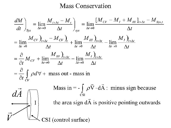 Mass Conservation I CSI (control surface)