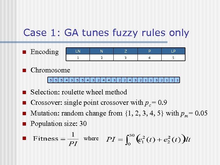 Case 1: GA tunes fuzzy rules only Encoding n n n N Z P