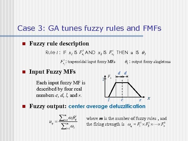 Case 3: GA tunes fuzzy rules and FMFs n Fuzzy rule description Rule i