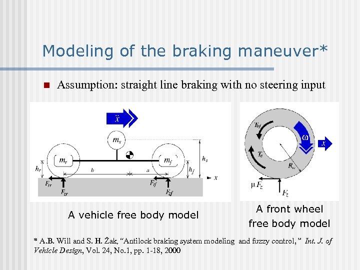 Modeling of the braking maneuver* n Assumption: straight line braking with no steering input