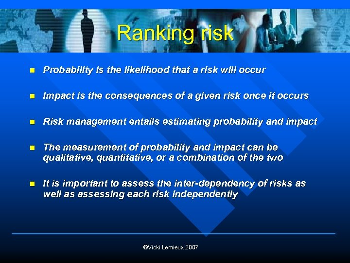 Ranking risk n Probability is the likelihood that a risk will occur n Impact