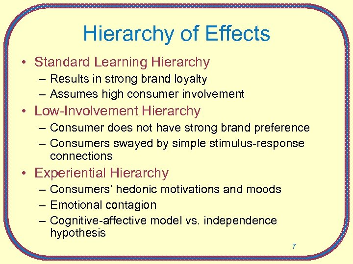 Hierarchy of Effects • Standard Learning Hierarchy – Results in strong brand loyalty –