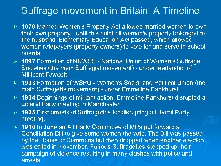 Suffrage movement in Britain: A Timeline Ø Ø Ø 1870 Married Women's Property Act