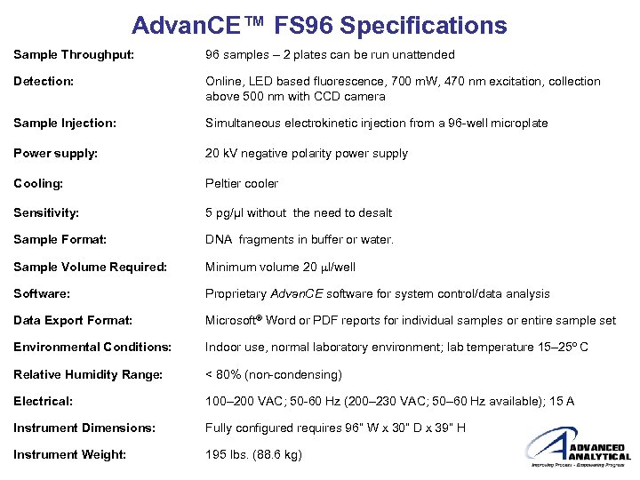 Advan. CE™ FS 96 Specifications Sample Throughput: 96 samples – 2 plates can be
