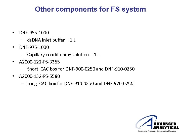 Other components for FS system • DNF-955 -1000 – ds. DNA inlet buffer –