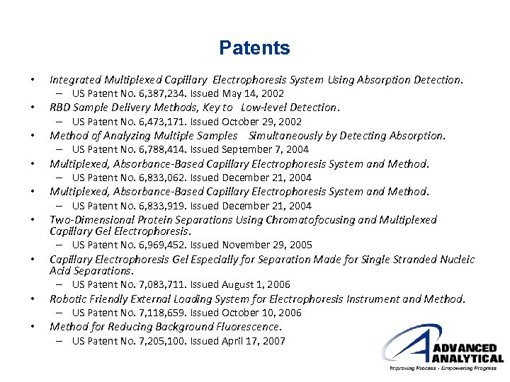 Patents • • • Integrated Multiplexed Capillary Electrophoresis System Using Absorption Detection. – US