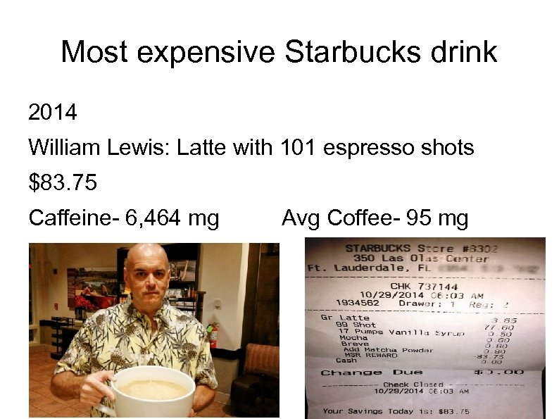 Most expensive Starbucks drink 2014 William Lewis: Latte with 101 espresso shots $83. 75
