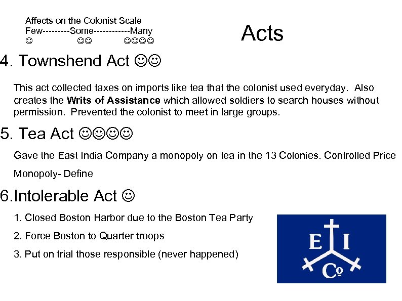 Affects on the Colonist Scale Few-----Some------Many Acts 4. Townshend Act This act collected taxes