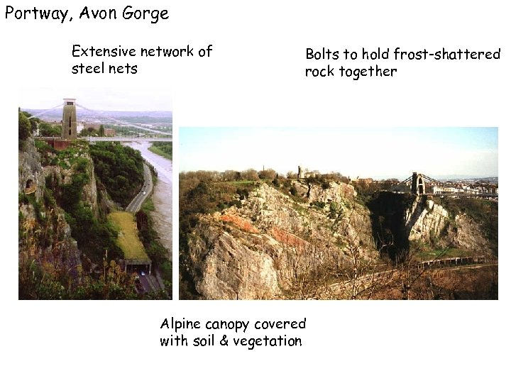 Portway, Avon Gorge Extensive network of steel nets Bolts to hold frost-shattered rock together