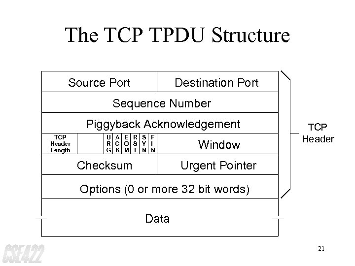 The TCP TPDU Structure Source Port Destination Port Sequence Number Piggyback Acknowledgement TCP Header