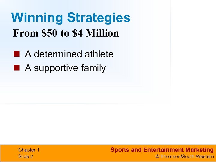 Winning Strategies From $50 to $4 Million n A determined athlete n A supportive