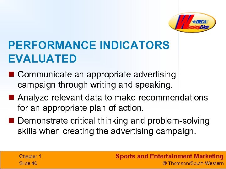 PERFORMANCE INDICATORS EVALUATED n Communicate an appropriate advertising campaign through writing and speaking. n