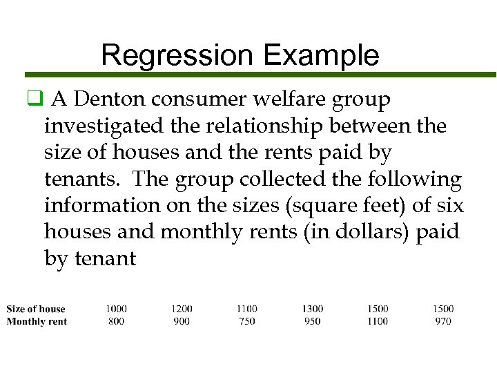 Regression Example q A Denton consumer welfare group investigated the relationship between the size