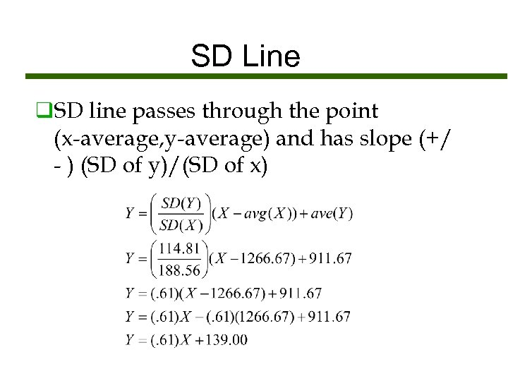 SD Line q. SD line passes through the point (x-average, y-average) and has slope
