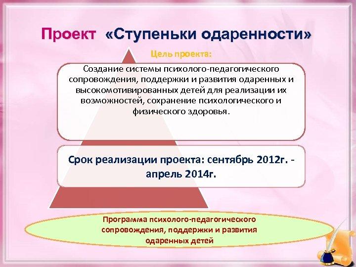 Проект «Ступеньки одаренности» Цель проекта: Создание системы психолого-педагогического сопровождения, поддержки и развития одаренных и