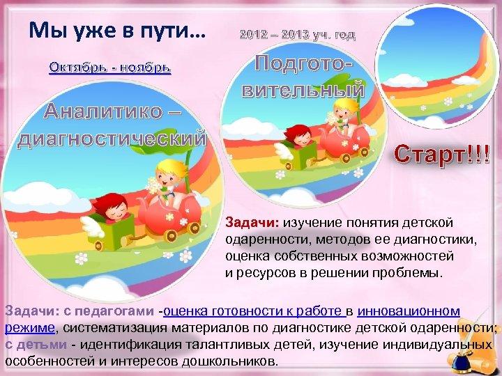 Мы уже в пути… Октябрь - ноябрь Аналитико – диагностический 2012 – 2013 уч.