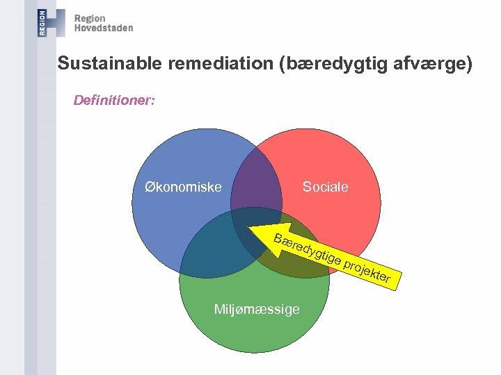 Sustainable remediation (bæredygtig afværge) Definitioner: Økonomiske Sociale Bæ redy gtig e pr ojek Miljømæssige