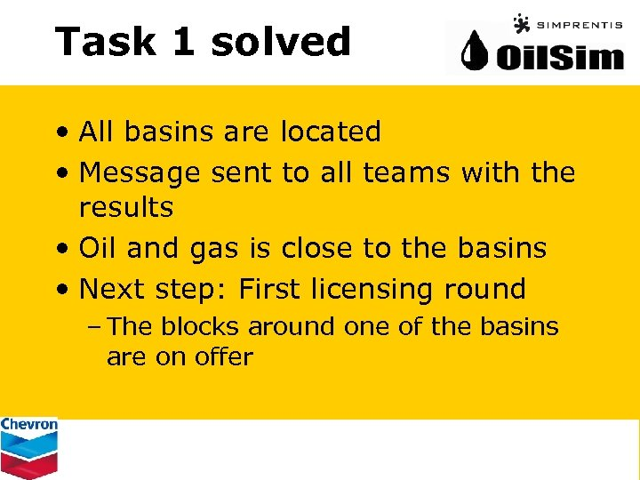Task 1 solved • All basins are located • Message sent to all teams