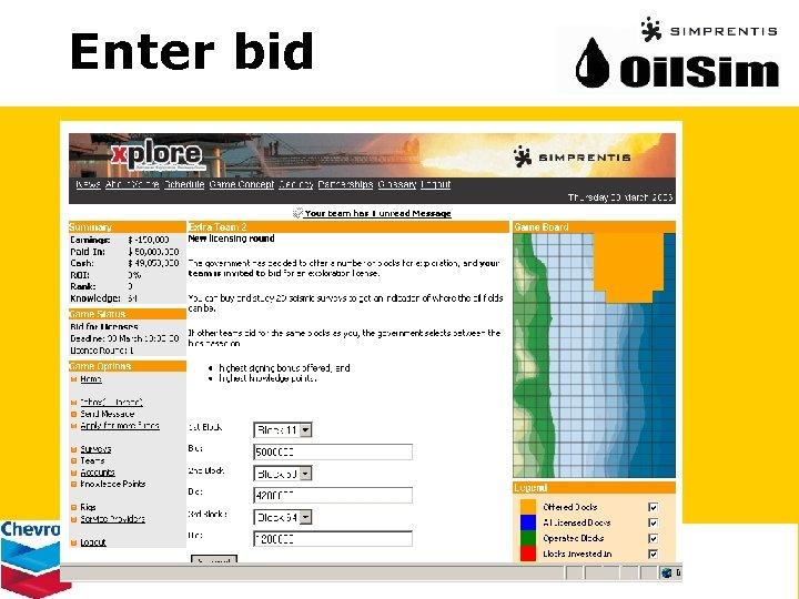Enter bid