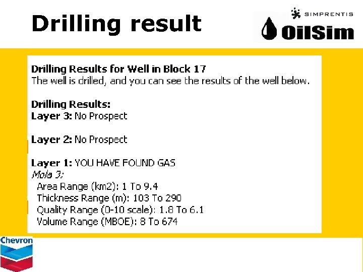 Drilling result