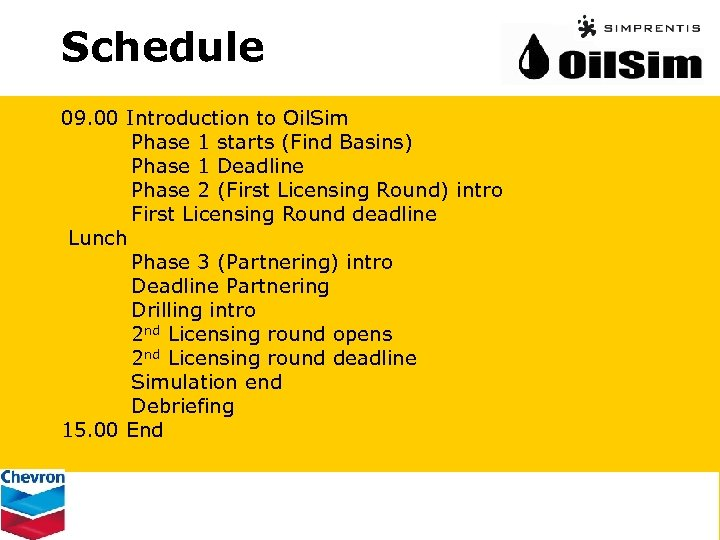 Schedule 09. 00 Introduction to Oil. Sim Phase 1 starts (Find Basins) Phase 1