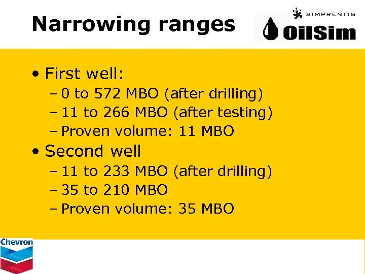 Narrowing ranges • First well: – 0 to 572 MBO (after drilling) – 11