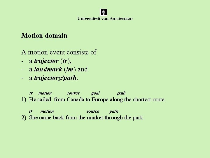 Universiteit van Amsterdam Motion domain A motion event consists of - a trajector (tr),