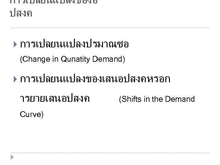 การเปลยนแปลงของอ ปสงค การเปลยนแปลงปรมาณซอ (Change in Qunatity Demand) การเปลยนแปลงของเสนอปสงคหรอก ารยายเสนอปสงค Curve) (Shifts in the Demand