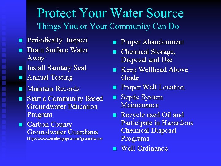 Protect Your Water Source Things You or Your Community Can Do n n n
